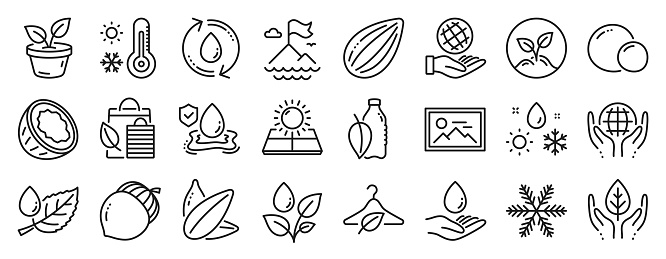 Set of Nature icons, such as Sun energy, Fair trade, Refill water. Vector