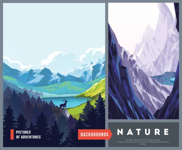 set of nature landscape backgrounds - nature travel stock illustrations, clip art, cartoons, & icons