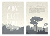 Set of nature landscape backgrounds with mountains, trees and handwritten phrase - Adventure never ends