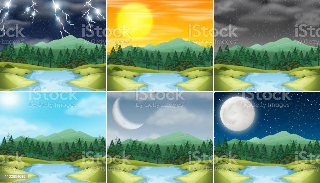 Set of nature landscape different weather illustration
