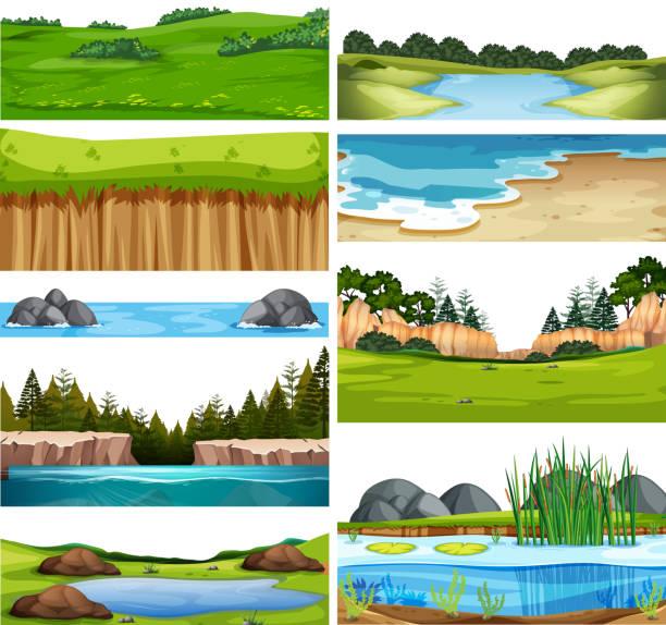 set of nature landscape - cliffs stock illustrations