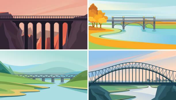 Set of nature landscape with bridges. Set of nature landscape with bridges. Beautiful sceneries. railway bridge stock illustrations