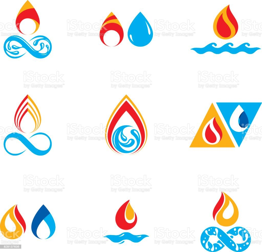 Set of nature power symbols composition of water and fire elements set of nature power symbols composition of water and fire elements vector illustrations for biocorpaavc
