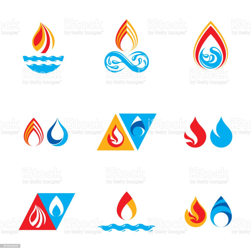 Set of nature power symbols, composition of water and fire elements. Vector illustrations for use in advertising. vector art illustration
