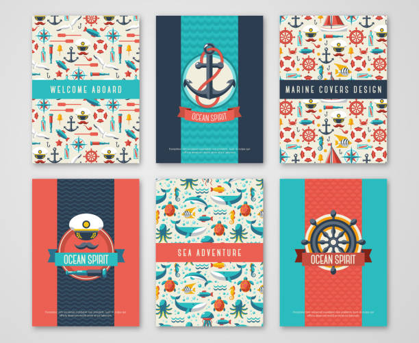Set of Nautical and Marine Banners and Flyers. Set of Nautical and Marine Banners and Flyers. Card Template with Flat Sea Symbols. Ocean Theme. Vector Illustration. Marine Signs, Sealife, Whale. Nautical Badges and Labels. Captain Hat and Anchor. cruise vacation stock illustrations