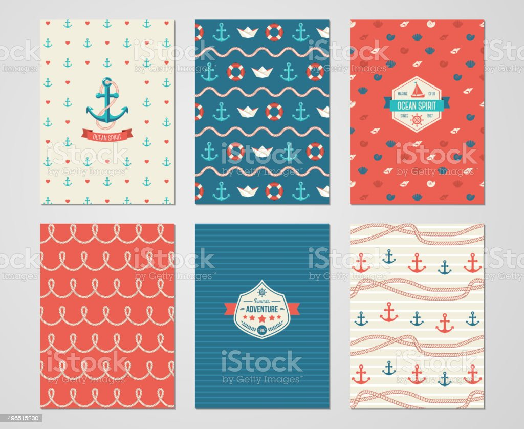 Set of Nautical and Marine Banners and Flyers. vector art illustration
