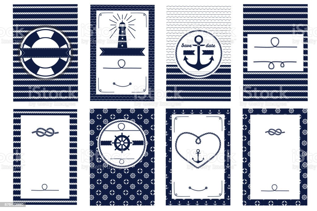 Set of nautical and marine banners and flyers vector art illustration