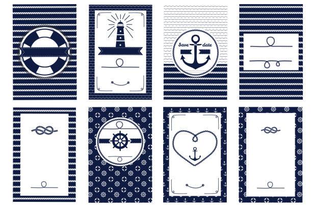 satz von nautischen und marine banner und flyer - wasserfahrzeug stock-grafiken, -clipart, -cartoons und -symbole