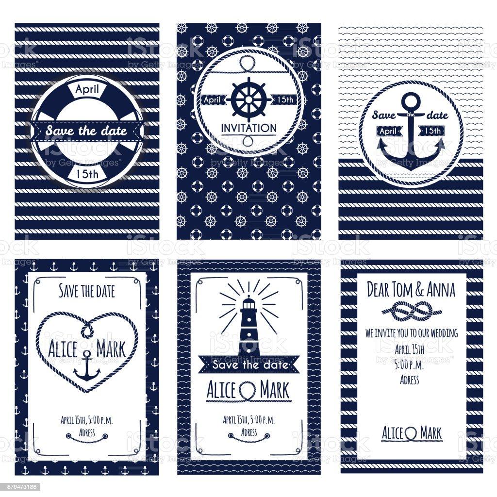 Set of nautical and marine wedding invitation - Illustration .