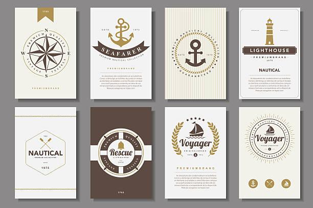 satz von nautische broschüren im vintage-stil - strickideen stock-grafiken, -clipart, -cartoons und -symbole