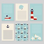set of nautical cards
