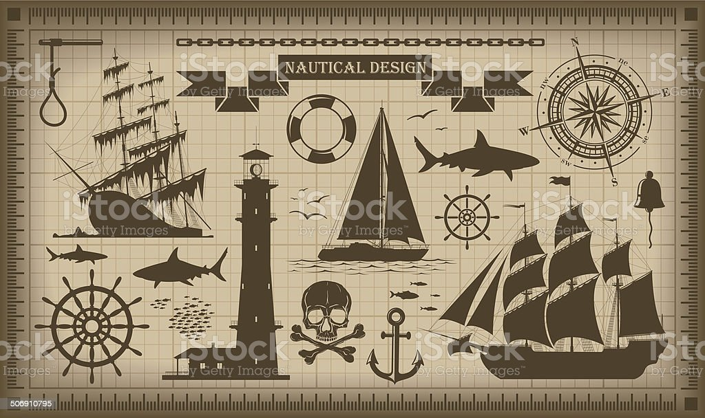 Set of nautical design elements,  vector EPS10 vector art illustration