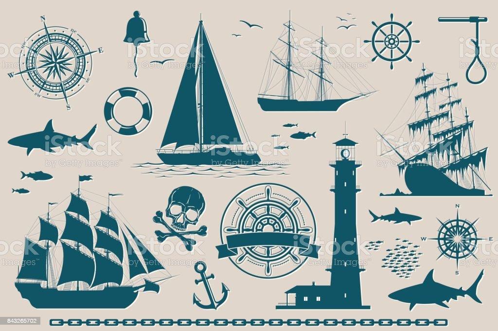 Ensemble d'éléments de design nautique - Illustration vectorielle