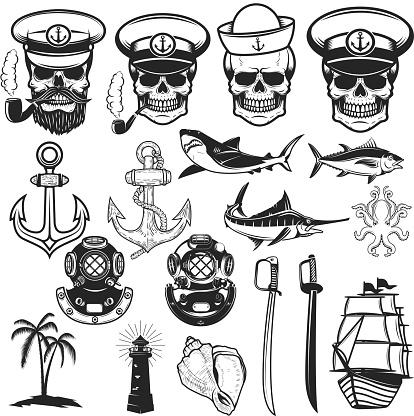 Set of nautical elements. Anchor, fish, shark, ship, octopus. Sailors skulls. Images for label, emblem, sign, poster. Vector illustration.
