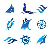 set of nautical icons. vector illustration
