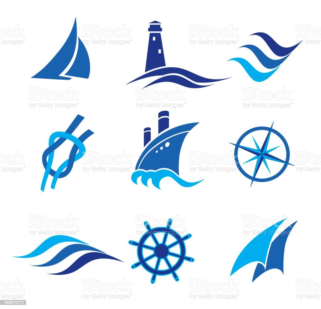set of nautical icons. vector illustration vector art illustration