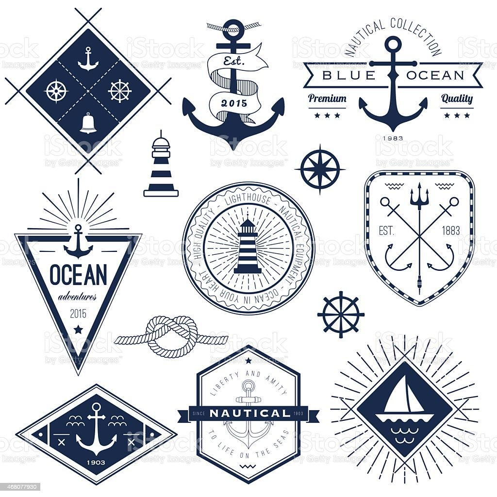 Set Of Nautical Logos Badges And Labels Stock Illustration