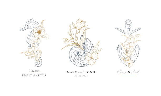 Set of nautical logos. Seahorse, shell and anchor entwined with algae and flowers. Marine logos concept on grunge background. Hand drawn vector illustrations. Set of nautical logos. Seahorse, shell and anchor entwined with algae and flowers. Marine logos concept on grunge background. Hand drawn vector illustrations. flowers tattoos stock illustrations