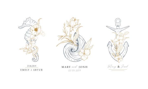 satz von nautischen logos. seepferdchen, shell und anker verflochten mit algen und blumen. marine logos konzept auf grunge hintergrund. handgezeichnete vektor-illustrationen. - monogrammarten stock-grafiken, -clipart, -cartoons und -symbole