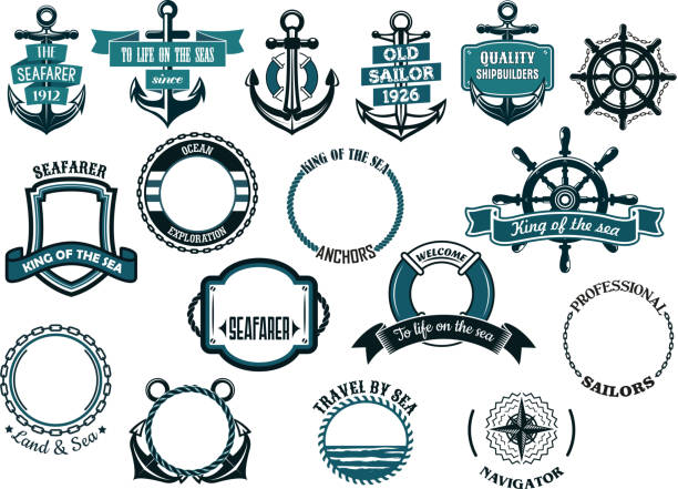 Set of nautical or marine themed icons and frames vector art illustration