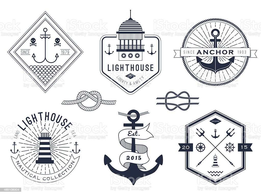 Set of nautical pictures and badges on a white background vector art illustration