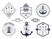 Set of nautical pictures and badges on a white background