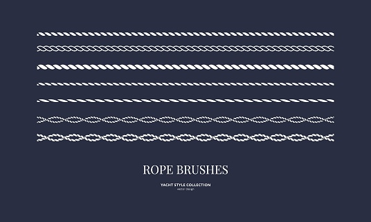 Nautical rope brushes set. Seamless pattern. Yacht style design. Vintage decorative elements. Template for prints, cards, fabrics, covers, menus, banners, posters and placard. Vector illustration.