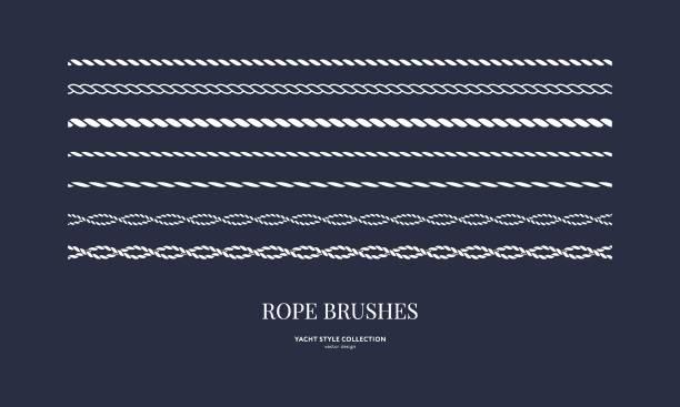 stockillustraties, clipart, cartoons en iconen met reeks nautische kabelborstels - touw