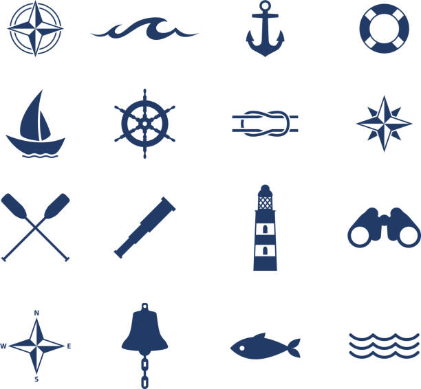 Set of nautical sea ocean sailing icons vector art illustration