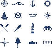 Set of nautical sea ocean sailing icons