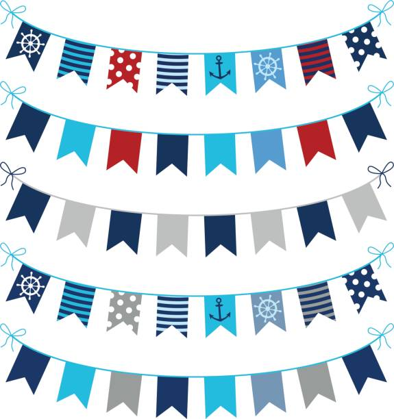 ilustrações de stock, clip art, desenhos animados e ícones de set of nautical themed vector bunting garlands in blue, red and grey colors for greeting cards, invitations and scrapbooking designs - bebé praia