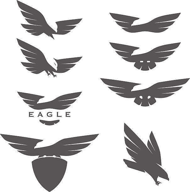 set of negative space emblems with eagles - eagle character stock illustrations, clip art, cartoons, & icons