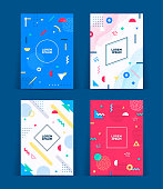 Set of neo retro style covers. Collection of cool bright covers. Abstract shapes compositions. Vector