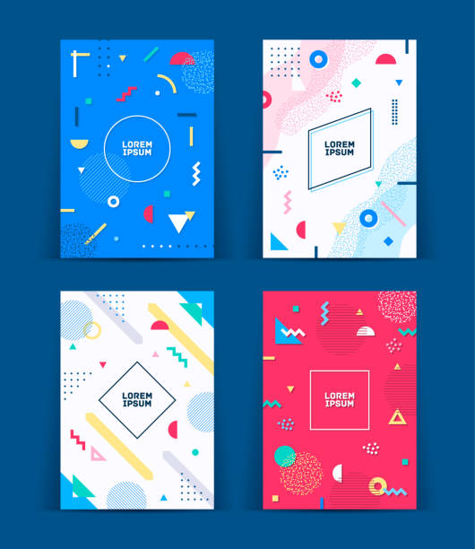 Set of neo retro style covers. Collection of cool bright covers. Abstract shapes compositions. Vector vector art illustration