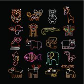 Set of isolated neon animal icons. Isolated on black background. Animals, birds and fishes.
