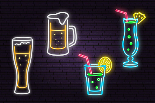 Set of neon Beer and Cocktail sign on brick wall background