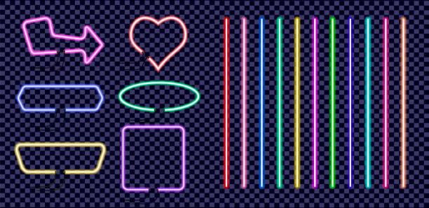 네온 컬러 프레임의 설정. 투명 한 배경에서 분리 하는 밝은 네온 불빛으로 빈티지 전기 간판. - 형광 stock illustrations