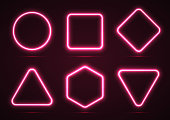 Collection of geometric shapes. Neon line. The shape is square, round, triangular, quadrangular and hexagonal. Vector illustration