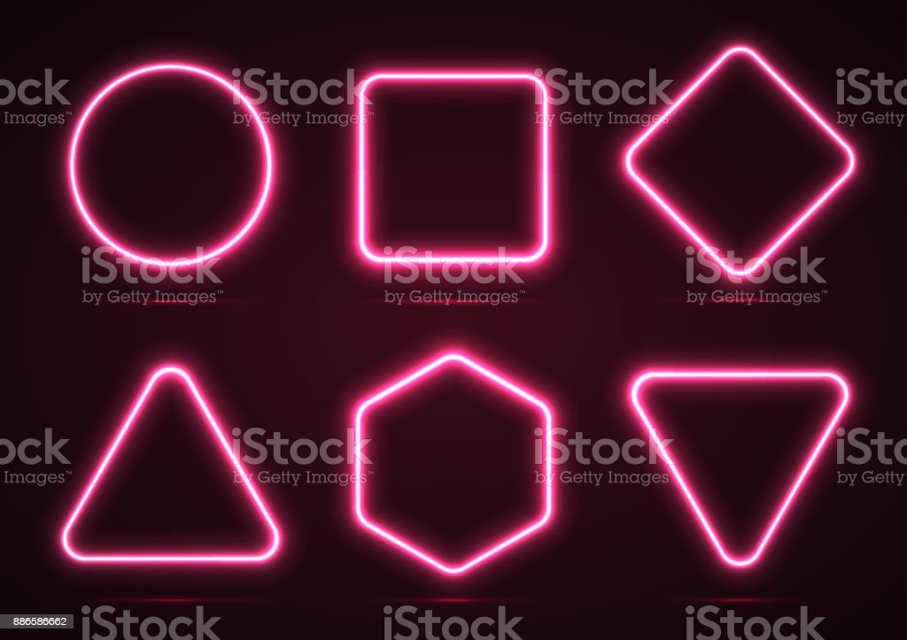 A set of neon geometric shapes. vector art illustration