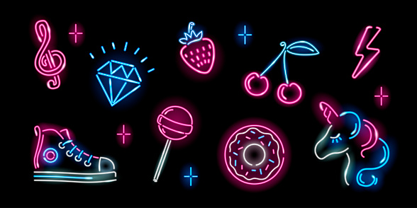 Set of neon girly icons on black background: unicorn, diamond, cherry, donut, strawberry, lightning, lollypop, sneaker. Fashion, fantasy, girl, childish concept. Night signboard style. Vector 10 EPS illustration.