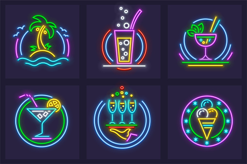 Set of neon icons beach cocktails tequila