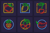 Set of neon icons with fruits