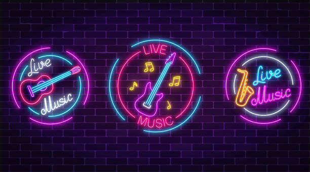 set of neon live music symbols with circle frames. three live music signs with guitar, saxophone, notes. - muzyk stock illustrations
