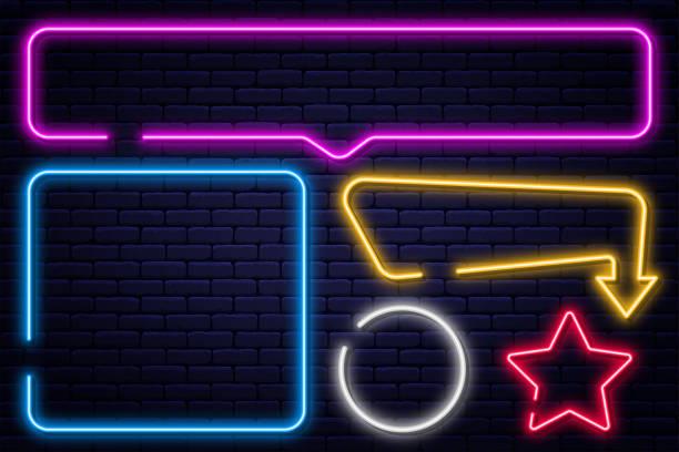 zestaw neonów, strzałek, prostokąta, kwadratu, koła i gwiazdy. neonowa ramka świetlna, świecący baner żarówki - neon stock illustrations