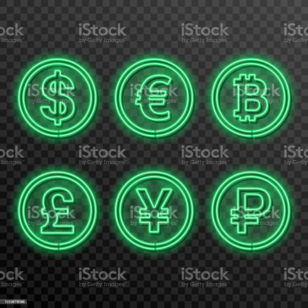 A Set Of Neon Symbols Of Currencies Stock Vector Art More Images