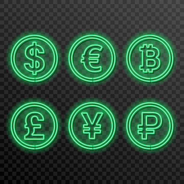 A set of neon symbols of currencies A set of neon symbols of currencies on a transparent background. Dollar, euro, pound, yuan, ruble, bitcoin. The shining bank notes. Design elements. Retro style. Vector illustration. taiwanese currency stock illustrations