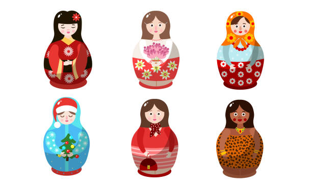 illustrazioni stock, clip art, cartoni animati e icone di tendenza di set di bambole nidificanti in costumi colorati di diverse nazionalità. illustrazione vettoriale in stile cartone animato piatto. - souvenir