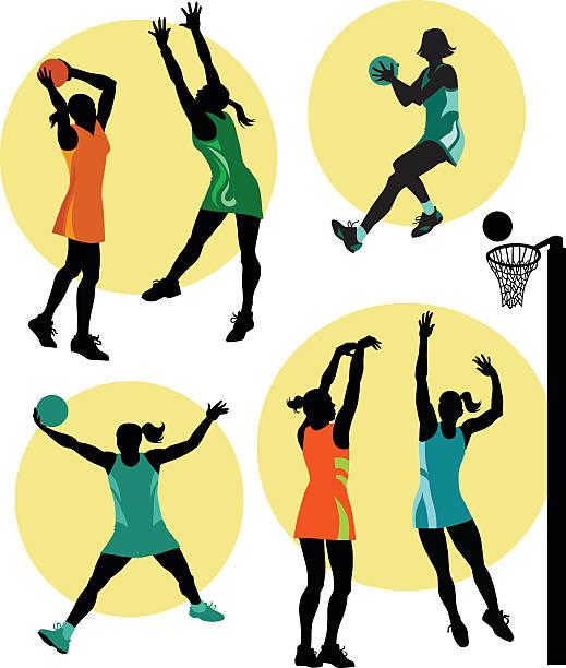 stockillustraties, clipart, cartoons en iconen met set of netball players in action - netball