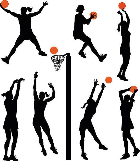 stockillustraties, clipart, cartoons en iconen met set of netball players - isolated silhouettes - netball