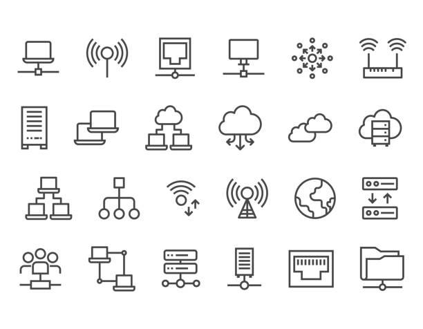 stockillustraties, clipart, cartoons en iconen met set van netwerk iconen vector iconen. bewerkbare stroke.pixel perfect 48 x 48 grootte pictogrammen - netwerkserver